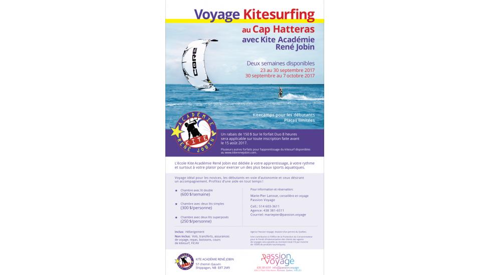 Voyage au Cap Hatteras du 23 septembre au 7 octobre 2017 avec Kite Académie René Jobin et Passion Voyage